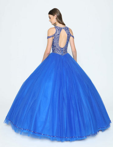 Illusion Cold-Shoulder Quinceanera Gown Cut-Out Back Royal Blue