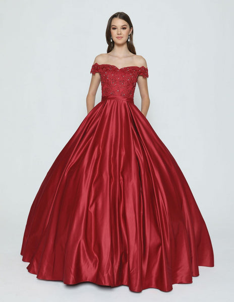 Burgundy Off-the-Shoulder Quinceanera Dress with Appliqued and Bow