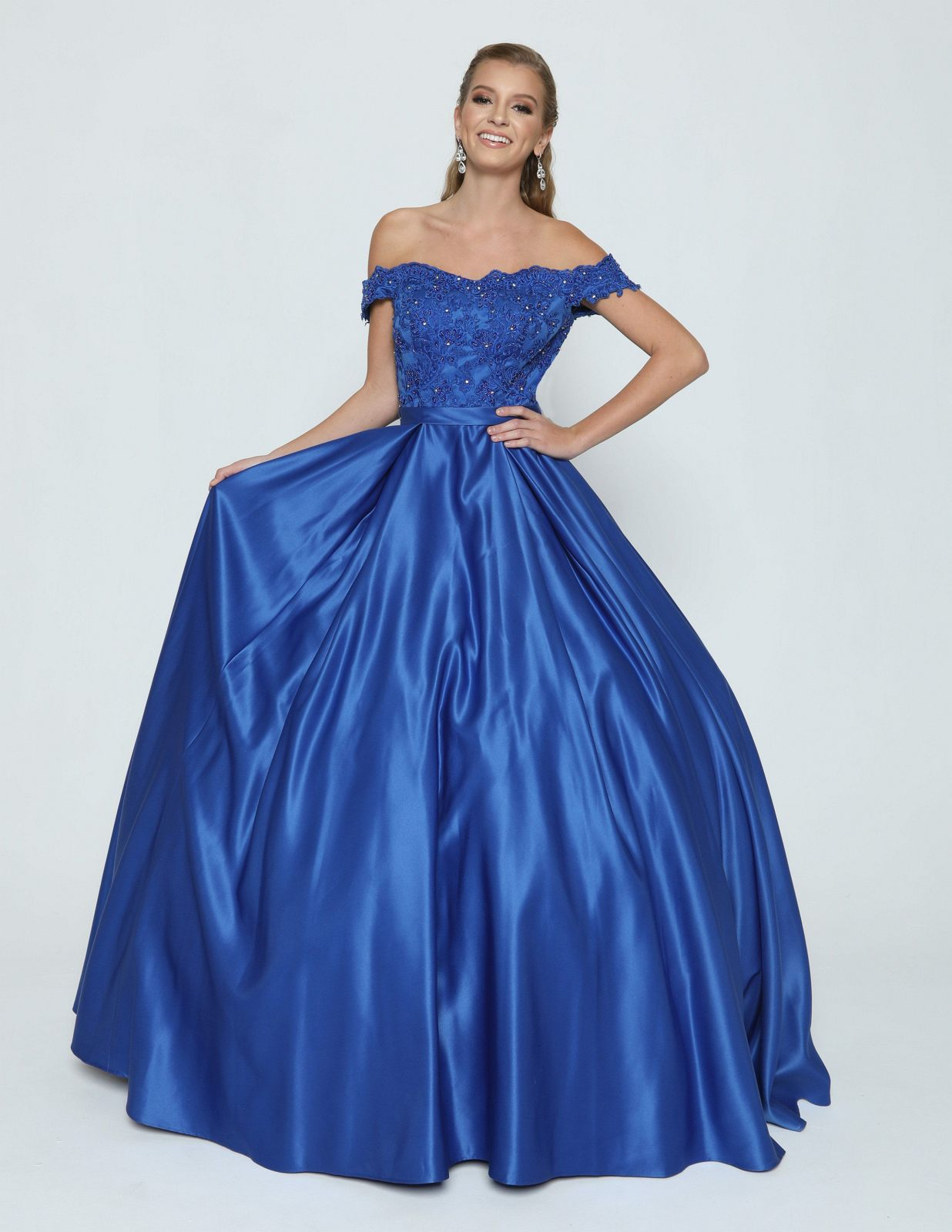 78318109ee3 Royal Blue Off-the-Shoulder Quinceanera Dress with Appliqued and Bow ...