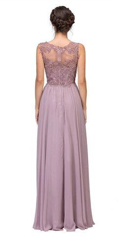 Mocha Floor Length Formal Dress Lace Illusion Bodice