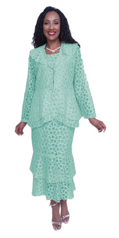 Hosanna 3717 Plus Size 3 Piece Set Mint Tea Length Lace Dress