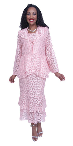 Hosanna 3717 Plus Size 3 Piece Set Pink Tea Length Lace Dress