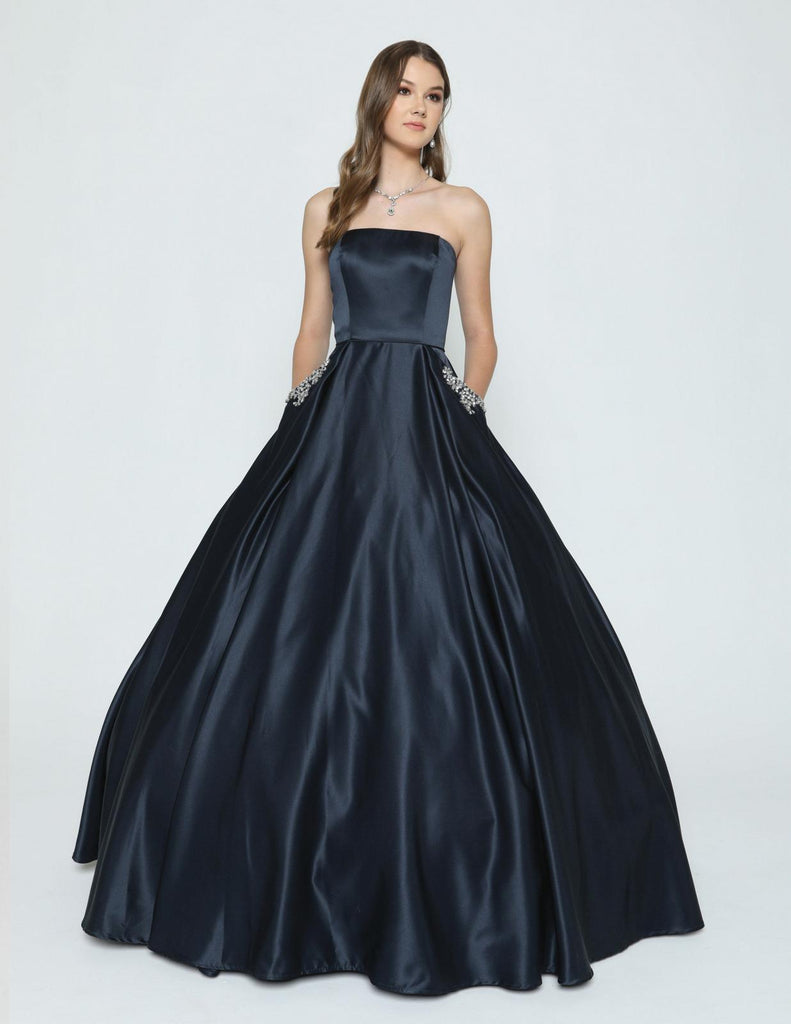 Navy Blue Strapless Prom Gown with Beaded Pockets