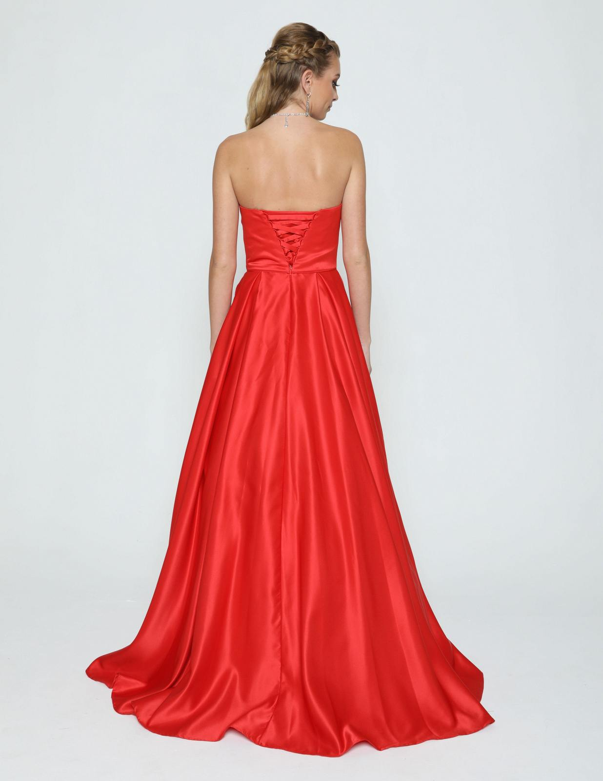 64a984707 Juliet 372 Red Strapless Prom Gown with Beaded Pockets ...