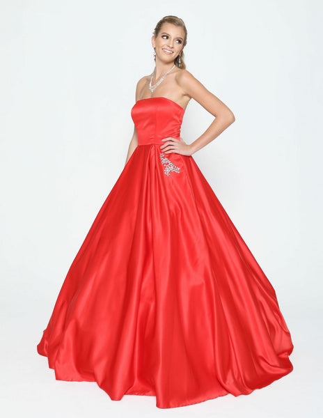 Red Strapless Prom Gown with Beaded Pockets