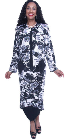 Hosanna 3729 Plus Size Ankle Length Print Dress Black/White