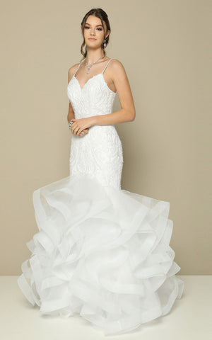 White Tiered Mermaid Wedding Gown with Spaghetti Strap