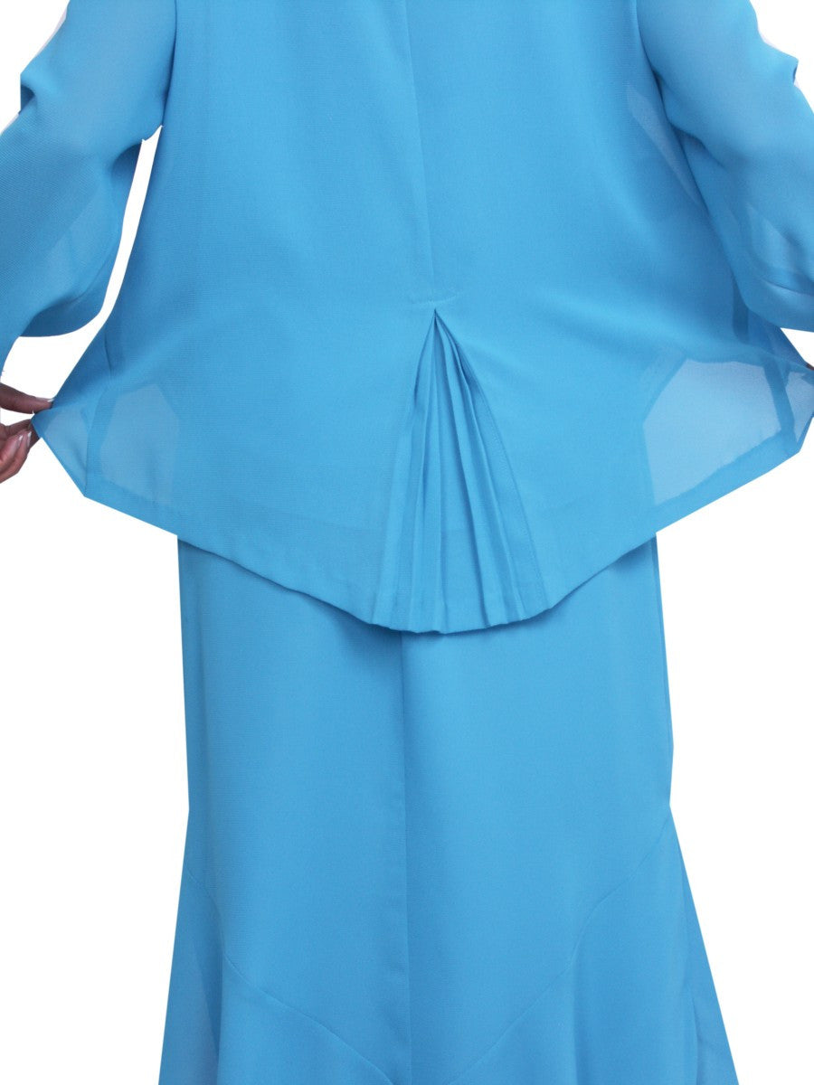 Tea Length Aqua Plus Size Dress Long Sleeves with Sequins