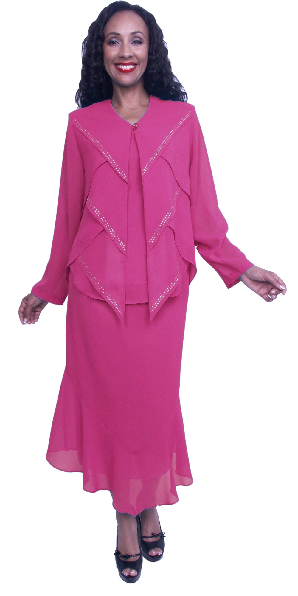 Tea Length Fuchsia Plus Size Dress Long Sleeves with Sequins