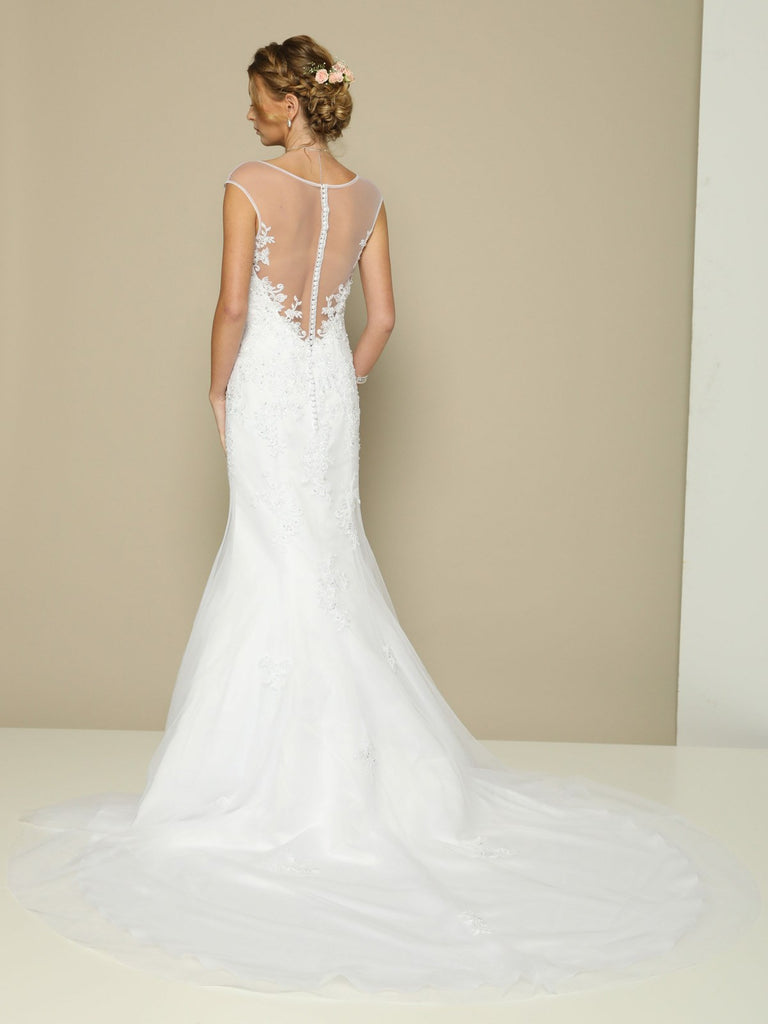 White Cap Sleeved Mermaid Wedding Gown Illusion Back
