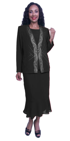 Plus Size Modest Dress with Long Sleeves Sequins Jacket Black