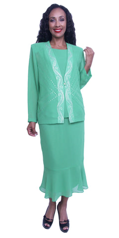 Plus Size Modest Dress with Long Sleeves Sequins Jacket Kelly Green