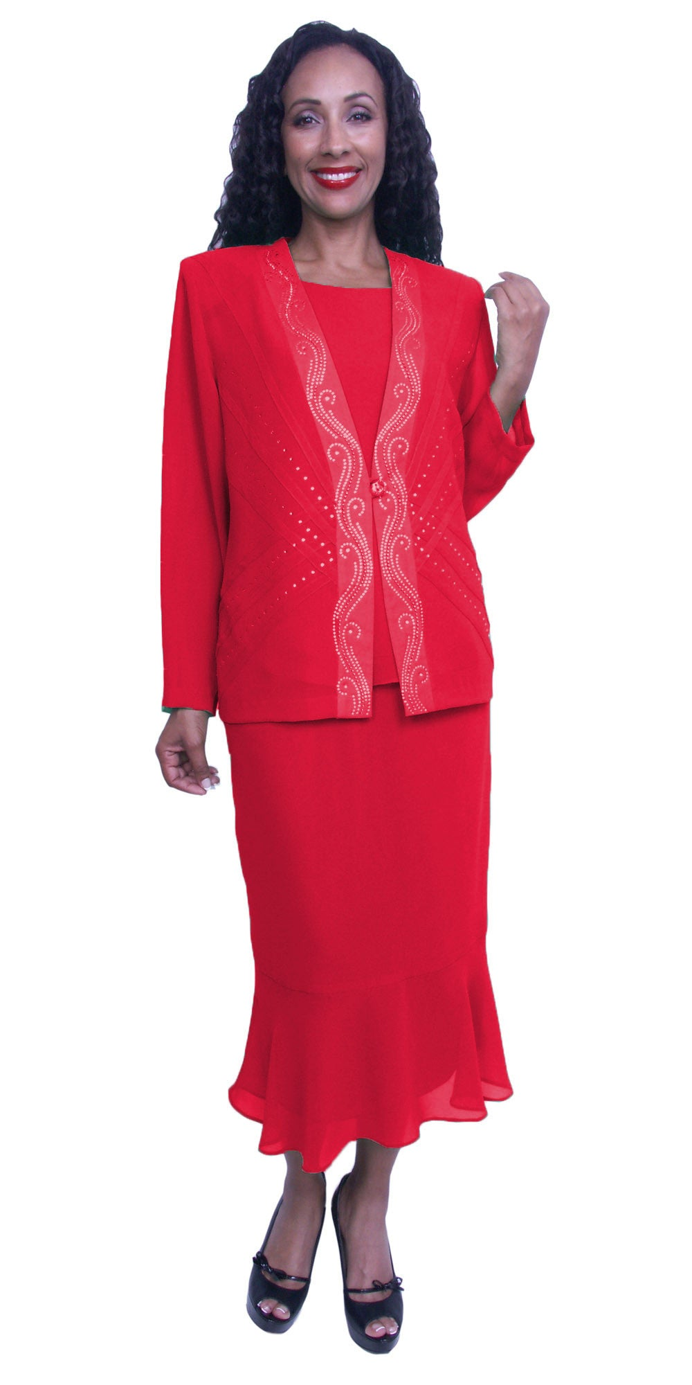 Plus Size Modest Dress with Long Sleeves Sequins Jacket Red