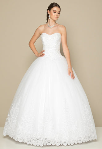 Sweetheart Neckline Beaded Wedding Ball Gown White