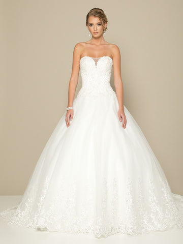 White Wedding Ball Gown Sweetheart Neckline Strapless