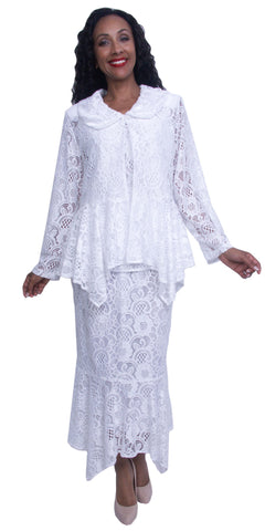 White Tea-Length Plus Size Column Dress with Long Sleeve Lace Jacket