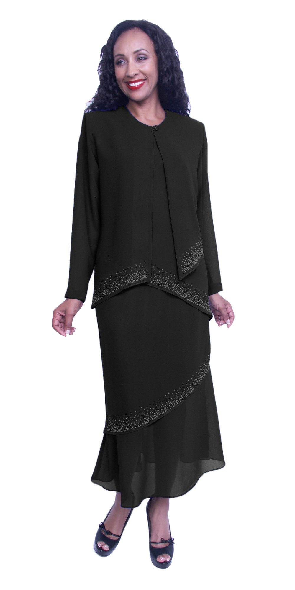 Long Sleeve Jacket Black 3-Piece Tea-Length Embellished Modest Dress