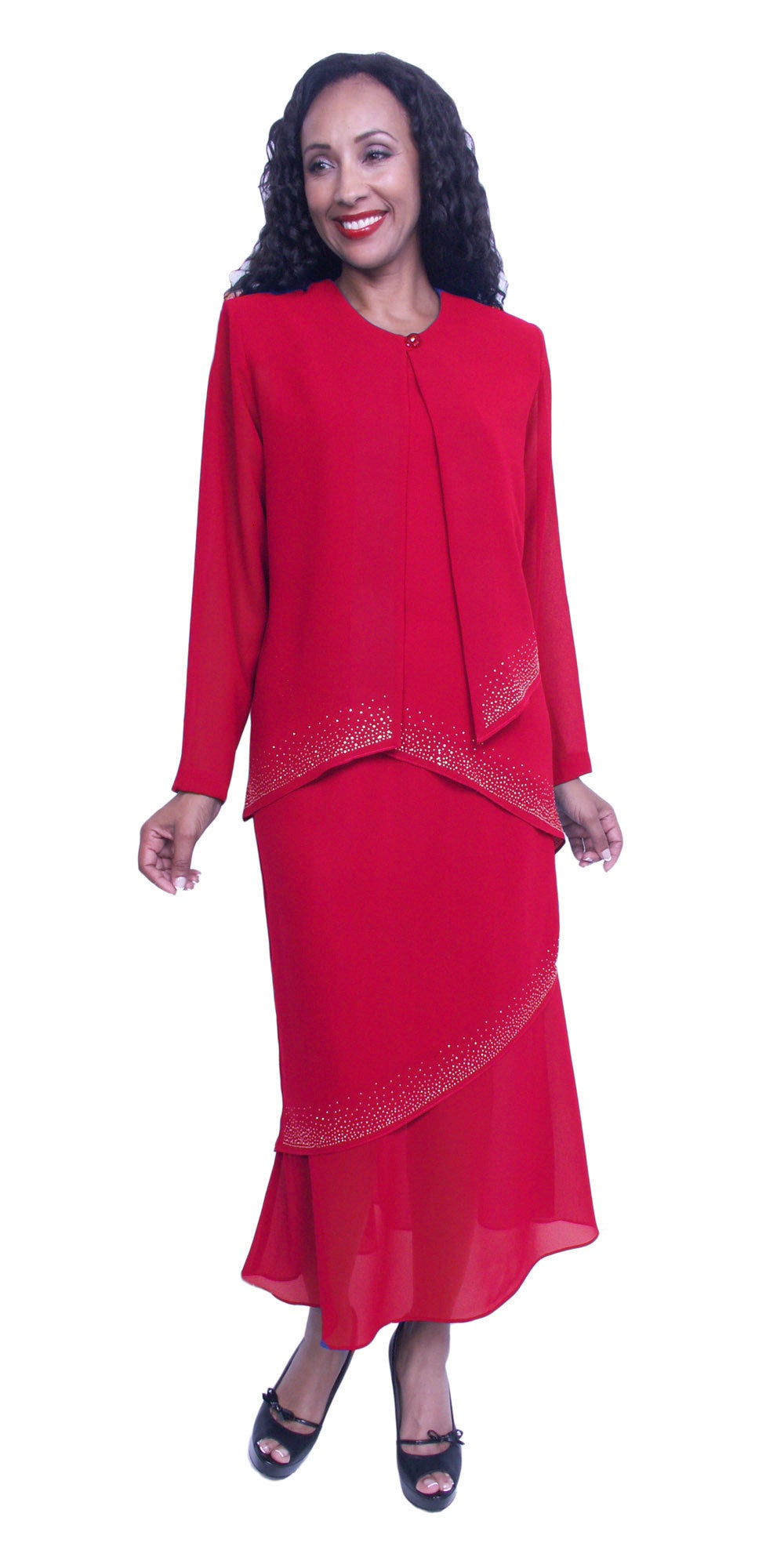 Long Sleeve Jacket Red 3-Piece Tea-Length Embellished Modest Dress