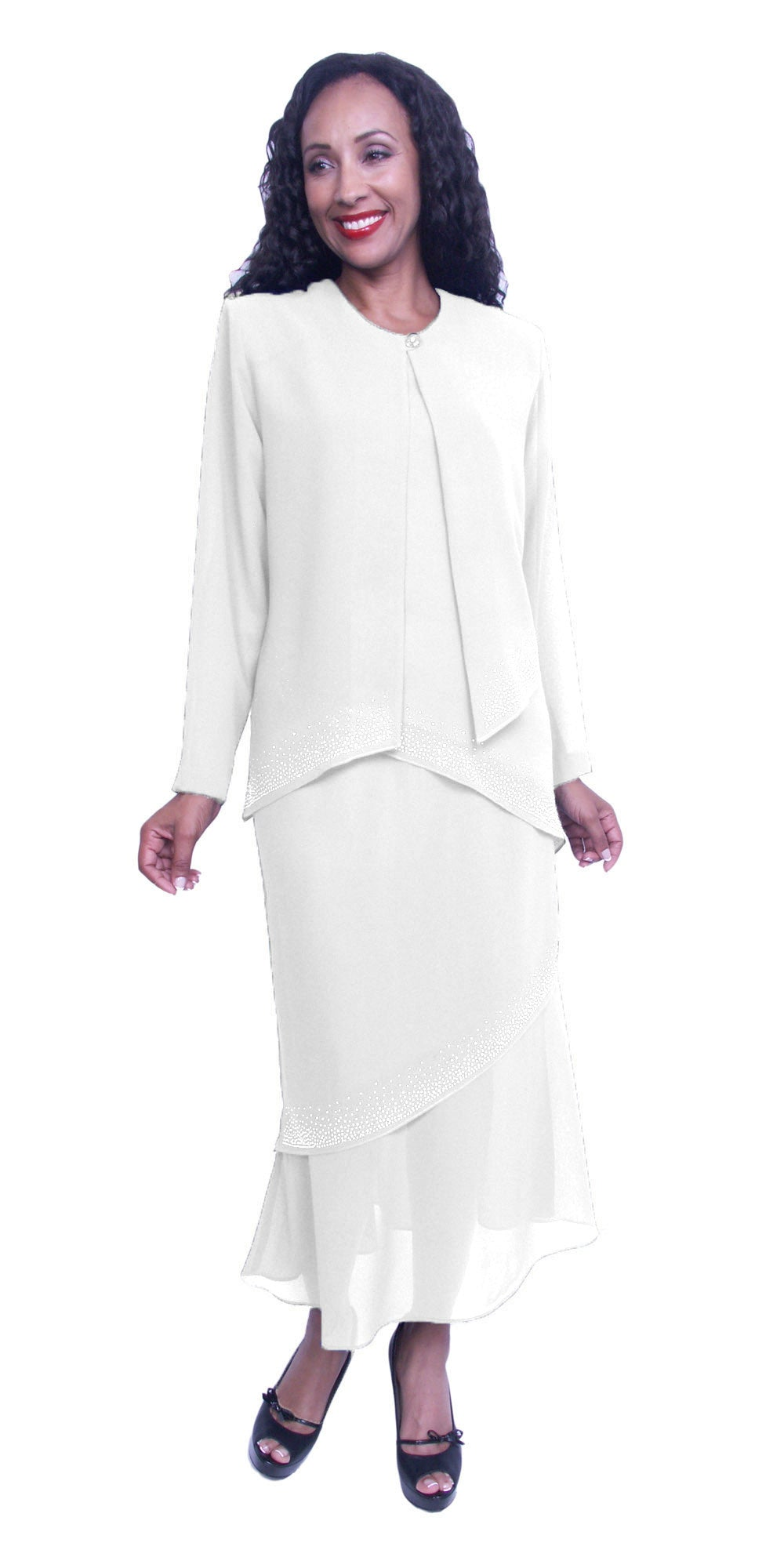 Long Sleeve Jacket White 3-Piece Tea-Length Embellished Modest Dress