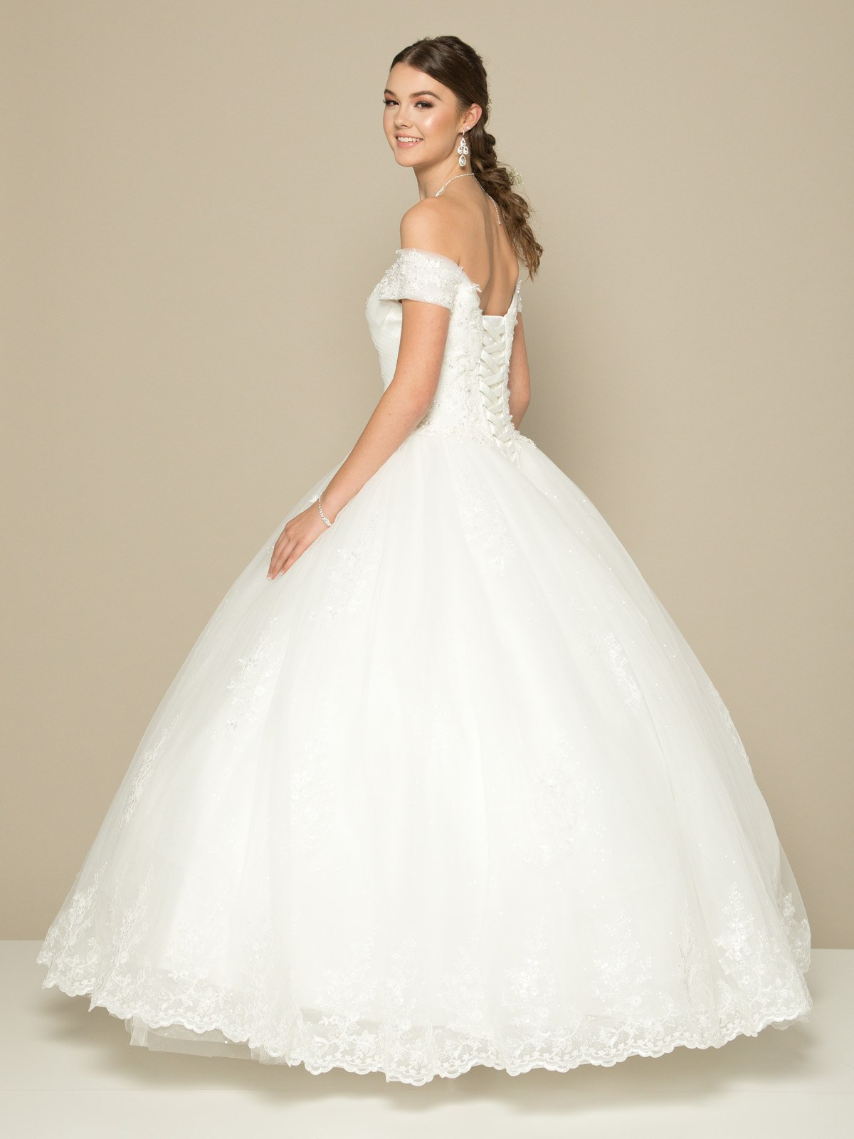 Juliet 378 Off-the-Shoulder White Wedding Ball Gown Lace-Up Back ...