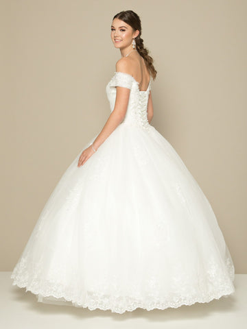 Off-the-Shoulder White Wedding Ball Gown Lace-Up Back