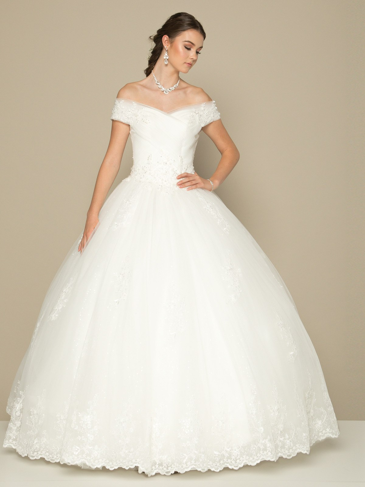 Juliet 378 Off The Shoulder White Wedding Ball Gown Lace Up Back