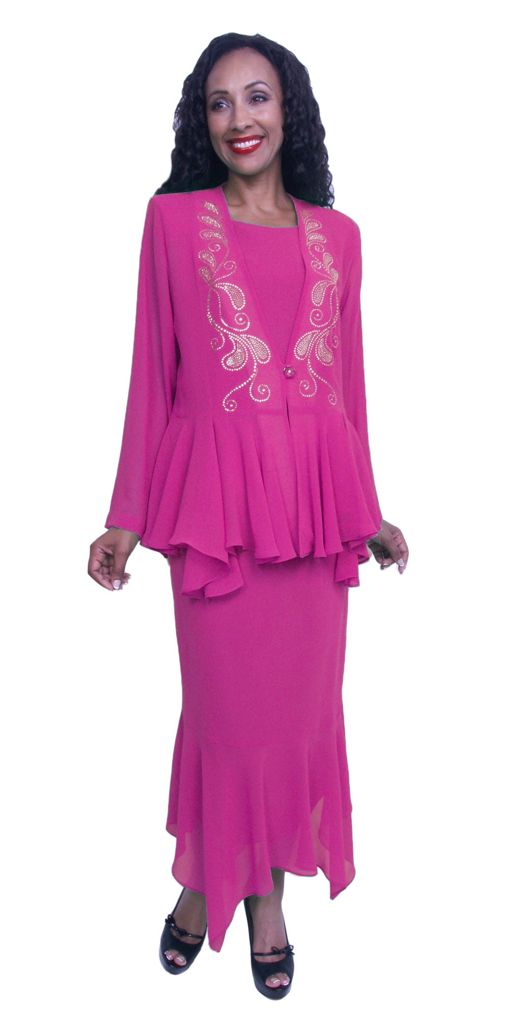 Tea-Length Fuchsia Peplum Embellished Jacket Plus Size Dress