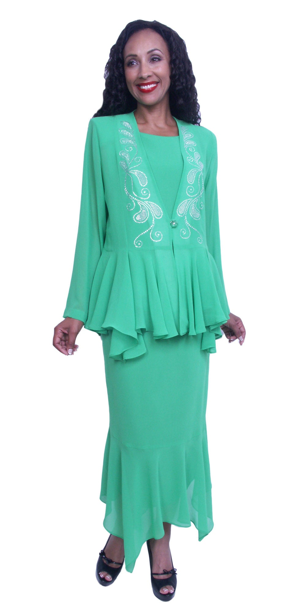 Tea-Length Kelly Green Peplum Embellished Jacket Plus Size Dress