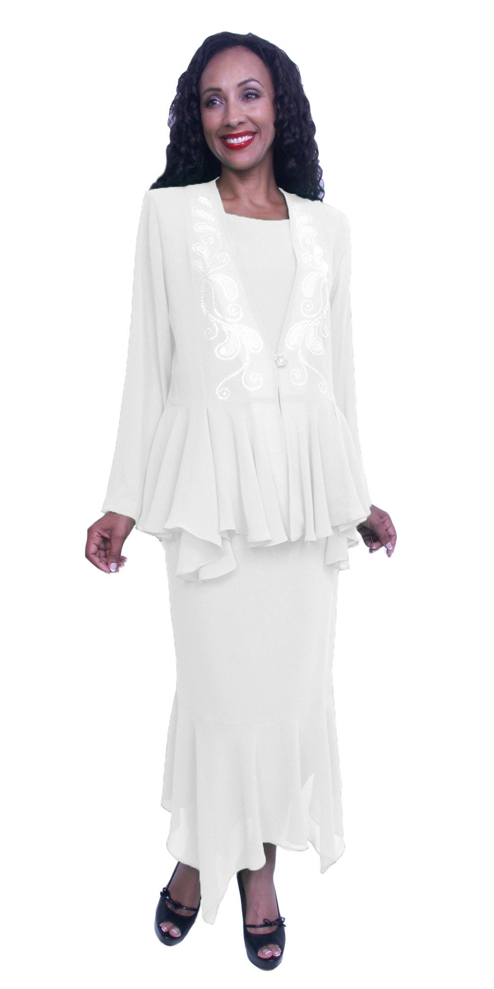 Tea-Length White Peplum Embellished Jacket Plus Size Dress