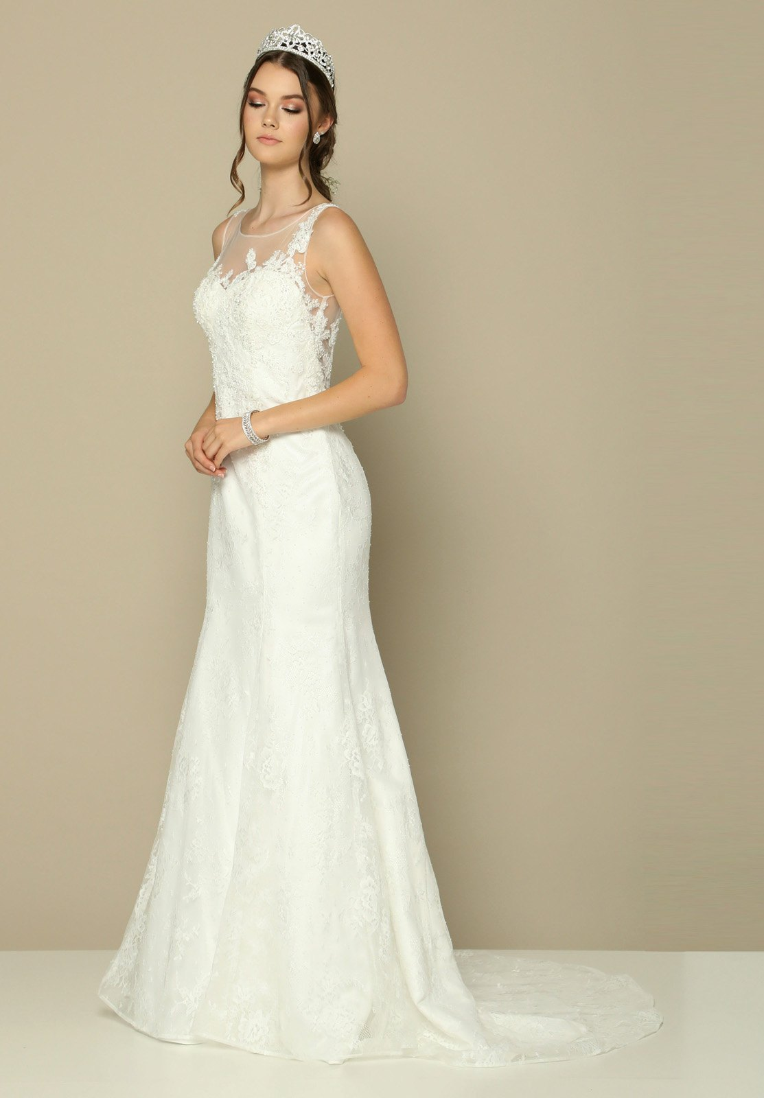 Juliet 379 Lace Illusion Wedding Gown Sleeveless with Court Train ...