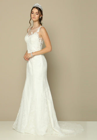 Lace Illusion Wedding Gown Sleeveless with Court Train