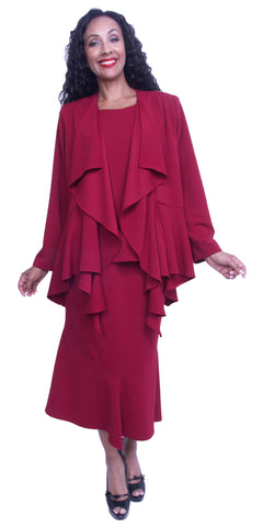 Burgundy Tea-Length Dress with Draped Long Sleeves Jacket Plus Size