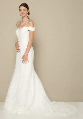 White Off-Shoulder Floor Length Lace Wedding Dress