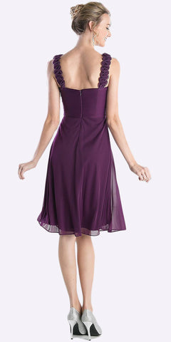 Cinderella Divine 3801 - Knee Length Eggplant Bridesmaid Dress Empire Waist Wide Flower Straps Back