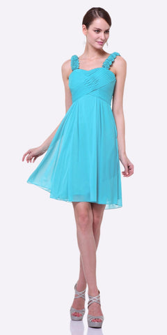 Cinderella Divine 3801 - Knee Length Mint Bridesmaid Dress Empire Waist Wide Flower Straps