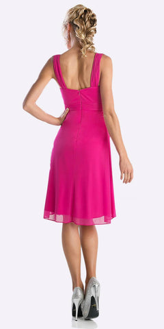 Cinderella Divine 3802 - Knee Length Fuchsia Back Beach Wedding Bridesmaid Dress Flowy Chiffon