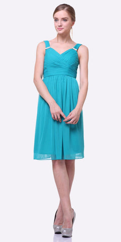 Cinderella Divine 3802 - Knee Length Jade Beach Wedding Bridesmaid Dress Flowy Chiffon