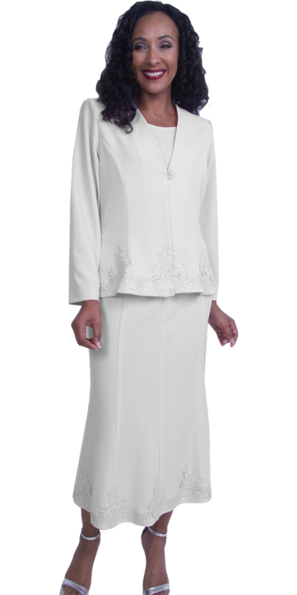 Off White Embroidered Jacket and Skirt Modest Tea-Length Dress