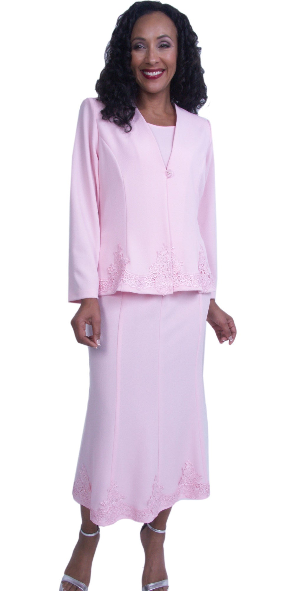 Pink Embroidered Jacket and Skirt Modest Tea-Length Dress