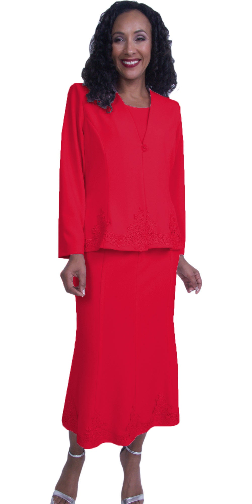 Red Embroidered Jacket and Skirt Modest Tea-Length Dress