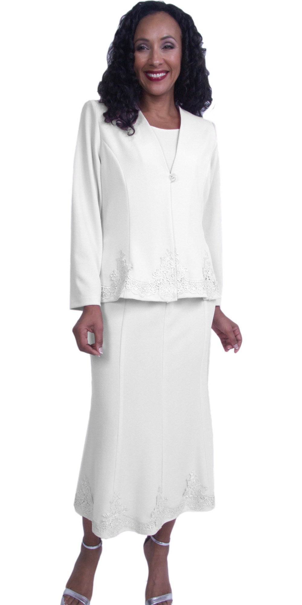 White Embroidered Jacket and Skirt Modest Tea-Length Dress