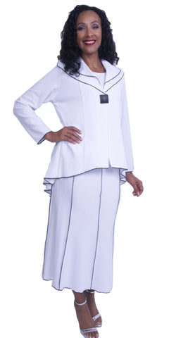 Long Sleeves White Two-Piece Church Dress Tea-Length