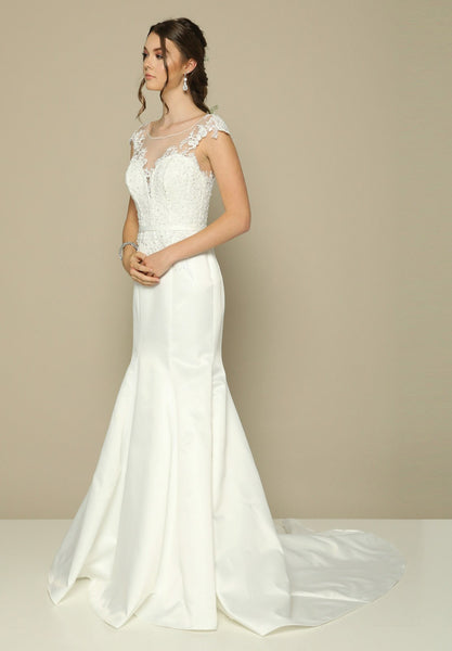 Cap Sleeved Illusion Mermaid Wedding Gown Ivory