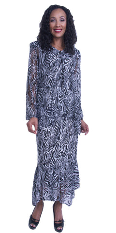 Printed Tea-Length Modest Dress with Sheer Sleeves and Skirt