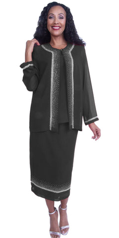 Embellished Black Tea-Length Church Dress Long Sleeve Jacket