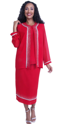 Embellished Red Tea-Length Church Dress Long Sleeve Jacket