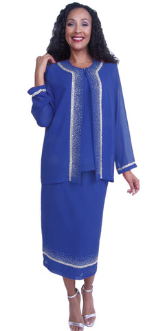 Embellished Royal Blue Tea-Length Church Dress Long Sleeve Jacket
