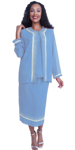 Embellished Sky Blue Tea-Length Church Dress Long Sleeve Jacket