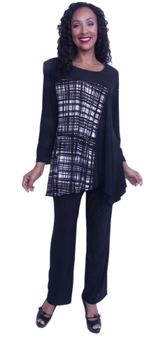Pants Suit Long Sleeve Top with Side Drape and Print Semi-Formal