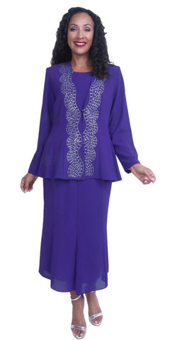 Purple 3-Piece Adorned with Rhinestones Long Sleeve Jacket Church Dress